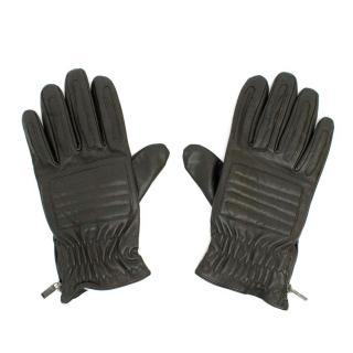 Versace Dark Brown Leather Gloves