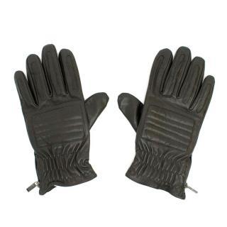 Versace Dark Brown Leather Gloves