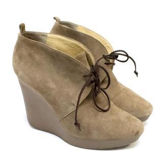 Jimmy Choo Light Brown Suede Wedge Heel Ankle Boots