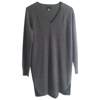 Paulie 100% cashmere grey jumper dress leather trim