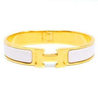 Hermes Clic H White Enamel Gold Plated Bracelet