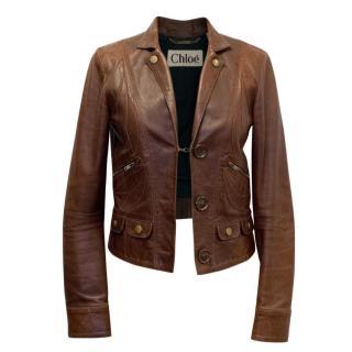 Chloe Brown Leather Jacket