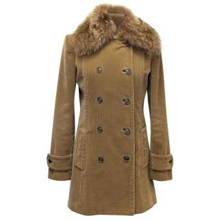 Dolce & Gabbana Beige Corduroy Coat with Racoon Fur Collar
