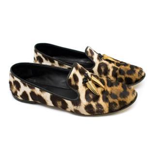 Giuseppe Zanotti Leopard Print Calf Hair Slippers