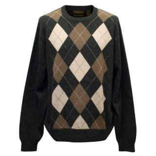Paolo Mondo Grey Cashmere Jumper With Argyle Pattern
