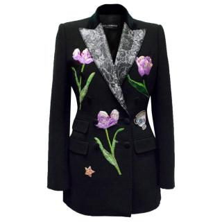 Dolce & Gabbana Black Wool Long Blazer with Embroidery