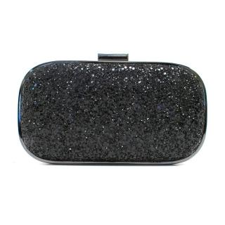 Anya Hindmarch Marano Black Glitter Box Clutch