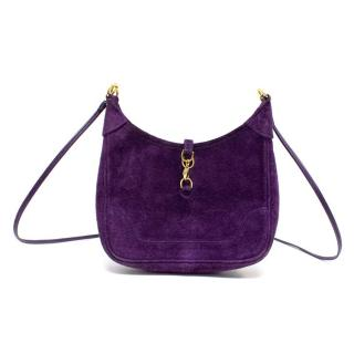 Hermes Mini Vintage Purple Suede Shoulder Bag