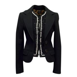 Dolce & Gabbana Black Wool Blazer with Pearls & Sequins