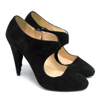Prada Black Suede Pointed Pumps with Cut-Out