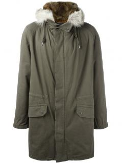 Yves Salomon Men's Parka, cotton, real fur lining and ruff. BNWT