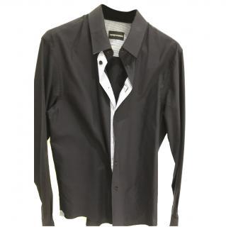 Emporio Armani Navy Cotton Twill Shirt