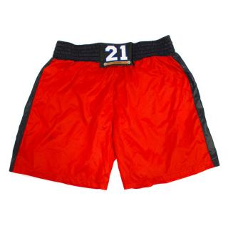 Dolce & Gabbana Red Swimming Trunks with 21 Buckle