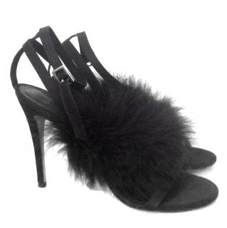 Topshop Black Fluffy Heels