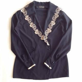 Gianni Versace Couture 80's vintage black Art Deco silk blouse