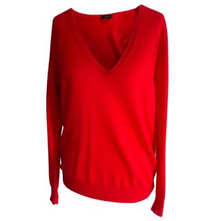 Joseph Red Cashmere V-neck Jumper