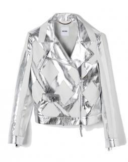 Metallic Silver Moschino Leather Biker Jacket
