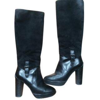 Tod's knee high suede and leather boots