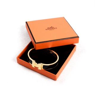 NEW Hermes Clic Clac Bracelet Black and Gold PM