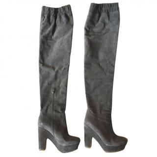 Pure Lopez Grey suede legging boots