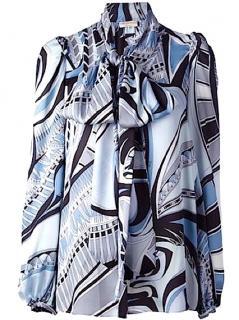 Emilio Pucci Iconic Horus Print Silk Blouse