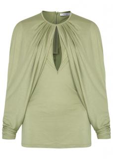 GIVENCHY Light Green Draped Jersey Top