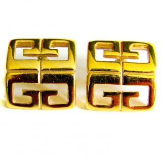 Vintage Givenchy 1980s GG Gold Statement Stud Earrings