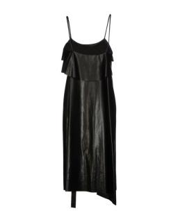 SONIA RYKIEL Black Faux Leather Asymmetric Dress