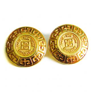 Vintage Givenchy GG Gold 1980s Statement Stud Earrings