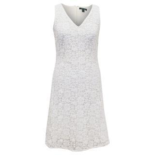 Ralph Lauren White Crochet Lace Straight Fit Dress