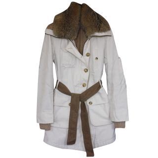 Brunello Cucinelli fox fur/cashmere/cotton coat It 40