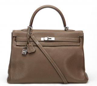 Etoupe Clemence Leather Kelly 35cm
