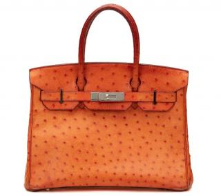 Hermes Orange Ostrich Leather Birkin 30cm