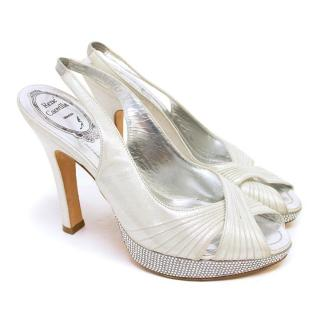 Rene Caovilla Silver Peeptoe Pumps with Crystal Embellishments