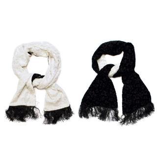 Shanghai Tang Black & White Reversible Velvet & Silk Scarf