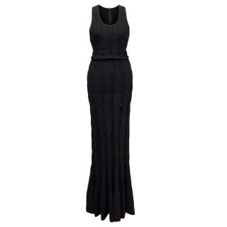 Alaia Black Maxi Dress With Lace Detail