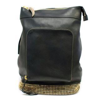 Giuseppe Zanotti Black Leather Gold Studded Cross-Body Bag