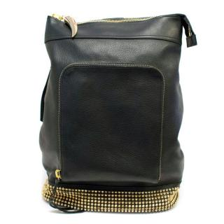 Giuseppe Zanotti Black Leather Gold Studded Cross-Body Bag