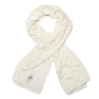 Atelier Versace White Velvet Scarf with Floral Print