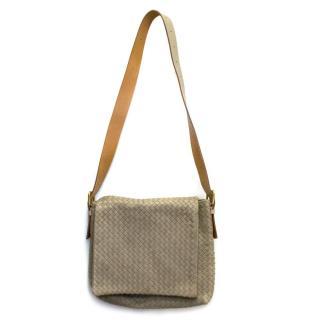 Bottega Veneta Beige Leather Woven Messenger Bag