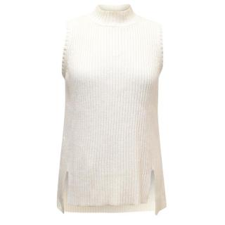 Tanya Taylor Cream Knit High Low Tank Top