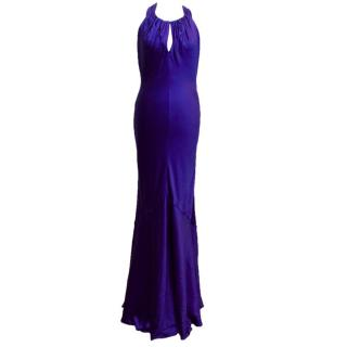 Amanda Wakeley Electric Blue Silk Halter-Neck Gown