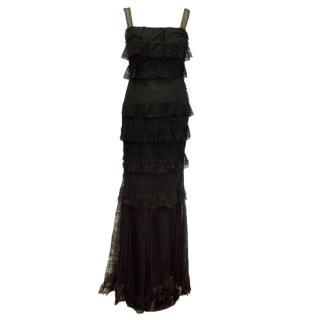 Christian Dior Black Lace Frill Maxi Dress