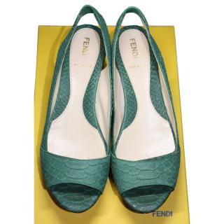 Fendi green snakeskin Flat shoes eu 38.5