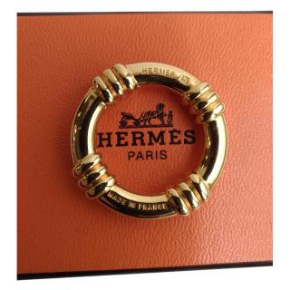 HERMES Gold Circle Scarf Ring