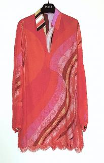 Emilio Pucci Red Lace Overlay / Printed Silk Mini Dress