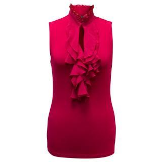 Ralph Lauren Pink Frill Neck Blouse