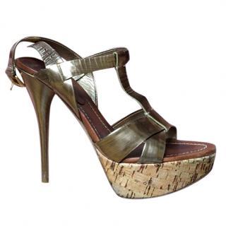 Miu Miu Gold Strappy Heels