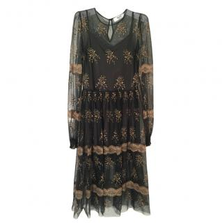 Blumarine Bluegirl Emerald Embroidered Gold Dress