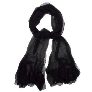 Christian Dior Black Silk Scarf